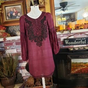 Joie 100% silk peasant Long Sleeve Embroide Dress